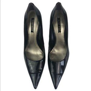 """Nine West Shoes Black 4.5"""" Heels Shiny Finish 8M"""
